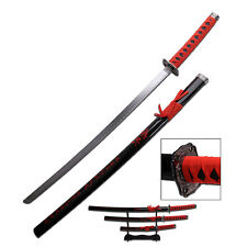 3 Piece Black & Red Samurai Katana Swords Sword Set With Stand 80-4-2