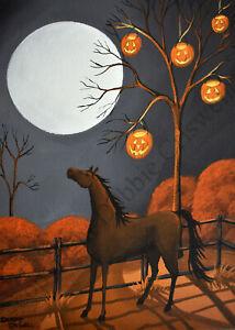 ACEO Halloween folk art print horse JOL Jack O Lantern PUMPKIN PONY moon full DC