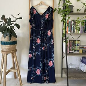 City Chic NWT Womens Nacy Multicoloured Aika Floral Jumpsuit Size S RRP $129.99