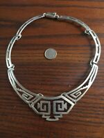 VTG Taxco Aztec Sterling Silver Necklace! One Of A Kind! HEAVY! 52.8 GRAMS!