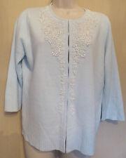 Berkertex UK14 EU42 US10 pale blue 3/4 sleeve cardigan with bead detailing - new