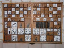 Casier tiroir d'imprimerie + Caractéres Lettres Typographie ancien déco loft