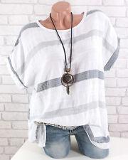 Tunika Damen Oversize Lagenlook Shirt Leinen Optik Kurzarm  weiß 42 44 46 48 48