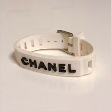 Chanel logo bracelet Rubber white Black 99P accessories Bangle Limited USED