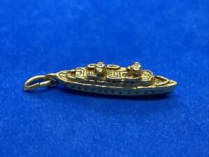 14K Yellow Gold Cruise Ship or Large Boat Charm
