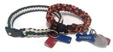 Outdoor Paracord Survival Dog Collar- Green and White- Orange and Black
