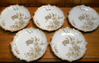 5 Antique Porcelain Plates - Flowers - Leon Sazerate Blondeau &Co Limoges France