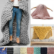 Winter Warm Chunky Knit Blanket Thick Yarn Merino Handmade Bulky Knitted Throw