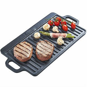 S/M/L Non-Stick Cast Iron Reversible Steak Griddle Plate Indoor BBQ Hob Cooking