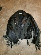 BLACK VERDUCCI LEATHER FRINGED CONCHOS HARLEY DAVIDSON MOTOCYCLE JACKET SIZE 40