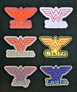 Personalised Embroidered Name Patch Badge Wonder Women Iron on or sew