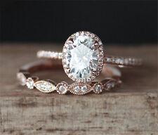 1.58 Tcw Oval & Round Cut Halo Engagement Ring & Wedding Band Set 14K Rose Gold