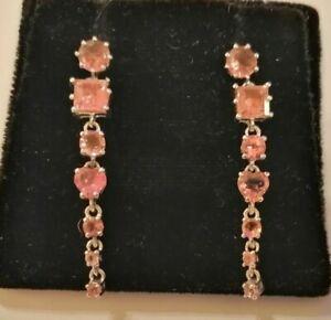 Sterling silver & pink tourmaline drop earrings