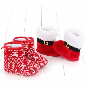 Anti-Slip soft-soled Infant Christmas boots baby shoes Foot Socks Warm Slippers