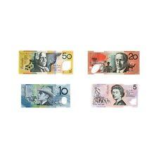 4 different Australia paper money $5, $10, $20, $50 Au-Unc.