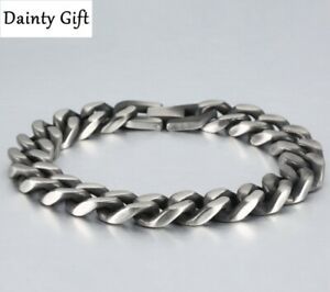 "Men Women Titanium Stainless Steel 6-14 mm Silver Miami Cuban Chain Bracelet 8"""