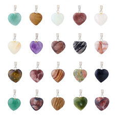 20PCS/BOX Natural Mixed Stone Pendants with Brass Finding Heart Platinum 23mm