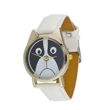 Lux Accessories White Gold Tone PU Leather Sad Puppy Dog Animal Lover Watch