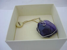 Stunning Large Organics Sterling Silver Purple Agate Pendant - NEW