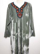 Maxikleid orientalisches Kleid Samtkleid Winterkleid Kameez Kurta  Strickerei