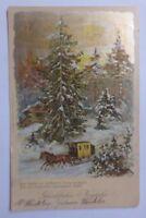 """""""Neujahr, Winterlandschaft, Wald, Haus, Kutsche""""  1905 ♥ (56269)"""