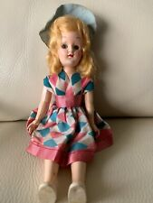 """Vintage Hard Plastic Carnival Doll. Country Diamond Pink &blue Dress. 8 """" Tall"""