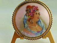 Antique  Porcelain Limoges France Hand Painted Duchess Floral Brooch