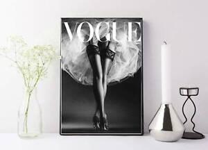 vogue fashion vintage magazine black and white drawing/painting print wall art