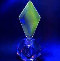 "Antique Heavy Lead Cut Crystal Faceted Perfume Bottle & Stopper 3.5""L 2""W 8""H"