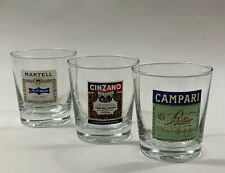 More details for vintage set of 3 collectible spirit tumblers bar glasses campari cinzano martell
