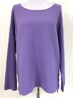 Style & Co. NWT Women's Medium Sweater Blouse Purple Lilac Ribbed Soft Hi-Low