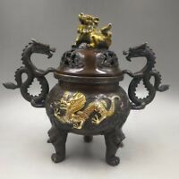 Old copper hand-made gold-plated double dragon lion incense burner decoration