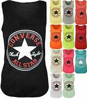 A57 New Women's Converse Logo Print Sleeveless Racer Muscle T-shirt Vest Top