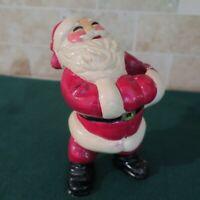 "Carnival-ware Chalkware Jolly Santa Candle Holder 7"" Tall 30-40's"