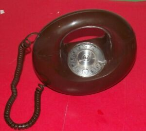 VINTAGE 1970S DONUT ROTORY DIAL PHONE WESTERN ELECTRIC BELL retro MCM brown