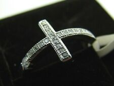New STERLING SILVER SIDEWAYS CROSS RING Christian Purity STUNNING CZ SPARKLE 8