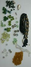 Vintage Glass & Plastic Beads Faceted Lot Craft Jewelry Making Green Gold Black