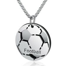 Stainless Steel Football Soccer Ball Sports Double Plate Pendant & Necklace