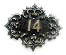 Cast iron vintage soviet door number sign 14, retro metal apt room fourteen sign