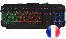 Clavier AZERTY Francais Filaire Gamer 5 Couleurs LED Retro eclaire USB pour Jeux