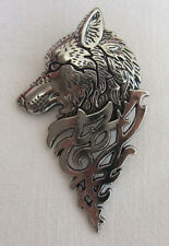 Antique Silver Tone Wolf Head Tie Pin Brooch with Celtic Design - Viking Tribal