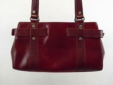 MONSAC RED LEATHER Satchel Shoulder Bag Handbag Purse MEDIUM EXCELLENT