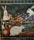 """Bunny Rabbis Vegetables Fruit New Country Gear  Tapestry Multi-color 26"""" x 26"""""""