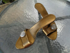 GUCCI Hysteria Gold Bronze Leather Slides Shoes Size EU 38.5 US 8.5