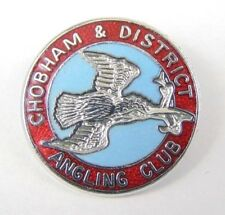 Vintage Enamel Chobham & District Angling Club Pin Lapel Badge - Fishing