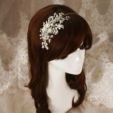 Elegante Sposa Capelli Cerchietto CRYSTAL perle fiore Damigelle Parrucchino