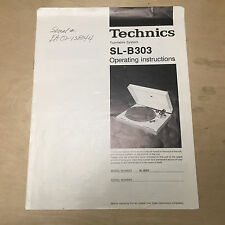 Technics Owner Manual for the SL-B303 Turntable