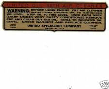 United Oil Bath B&S Briggs engine decal Gold