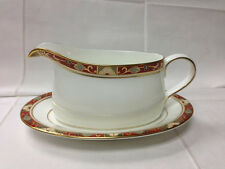 "ROYAL CROWN DERBY ""CLOISONNE"" SAUCE BOAT & STAND BONE CHINA ENGLAND NEW"