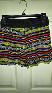 JUNIOR EYE CANDY LARGE  PRINTED HAREM SHORTS WITH CROCHET WAISTBAND NEW